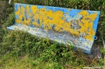Concrete Bench With Flaking Paint