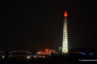 Juche Tower At Night