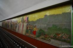 Propaganda Mural At Pyongyang Subway