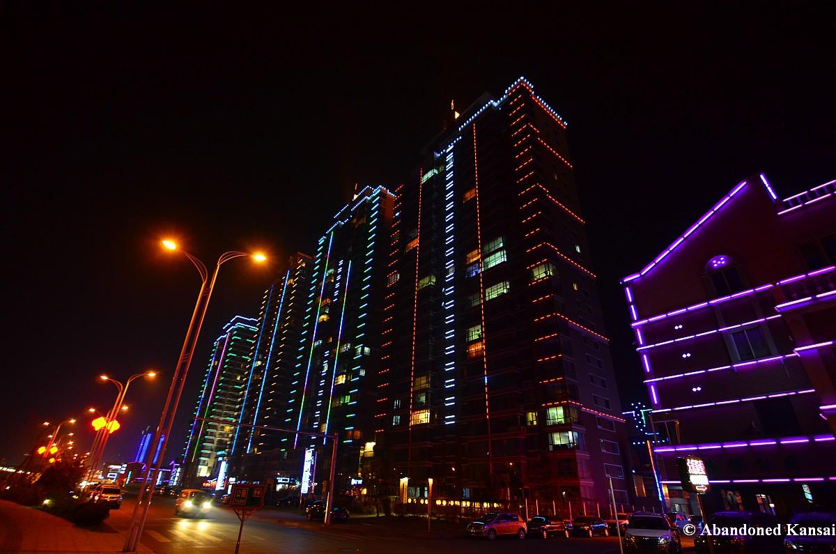 Dandong Apartment Buildings At Night Abandoned Kansai