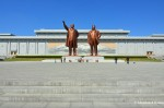 Kim Il-sung And Kim Jong-il At The MansudaeMonument