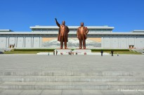 Kim Il-sung And Kim Jong-il At The Mansudae Monument