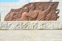 Statues At The Reunification Arch, Pyongyang