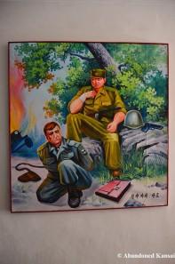 North Korean Propaganda Painting At A School