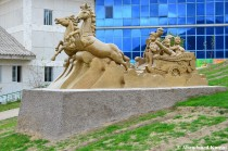 Chariot Of War In Front Of A Kindergarten, Rason, North Korea