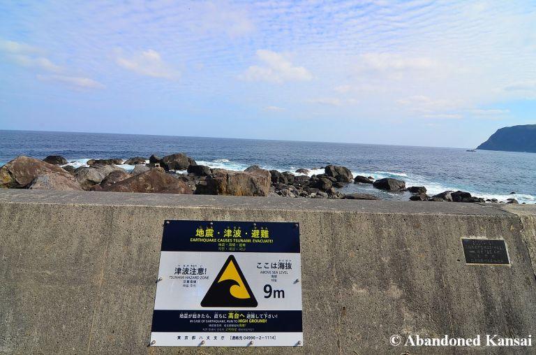 tsunami hazard zone warning sign abandoned kansai