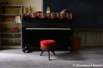 Abandoned Black School Piano