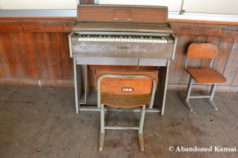 Old Yamaha Piano At Abandoned Elementary School