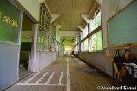 Hallway Of A Wooden Japanese School