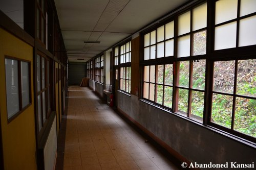 School Hallway Next To A Slope