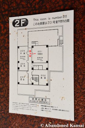 Emergency Escape Map At An Abandoned Japanese Hotel