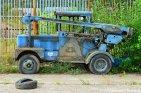 Abandoned Blue Machinery Car