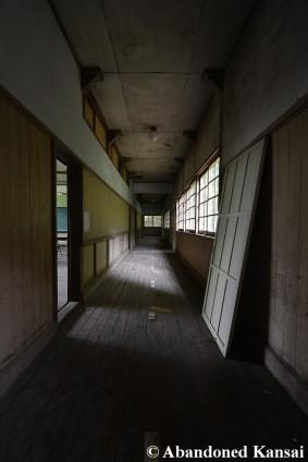 Eerie Wooden School Hallway