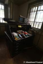 abandoned vintage desk