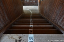 Abandoned Wooden School Staircase In Good Condition
