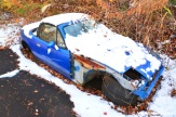 Abandoned Blue Car Snow